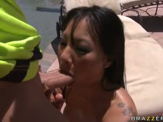 Hot Asian Pornstar Asa Akira Filling Her Mouth With An Excellent Skin Flute