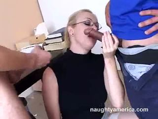 Adrianna nicole blows 2 sunkus meat weenies alternately