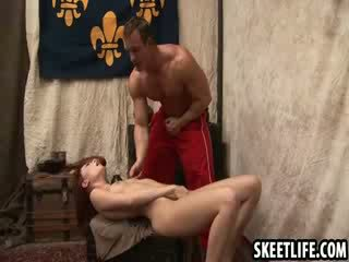 Hot college redhead slut gets spread and fucked