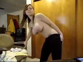 Cute nerd with big natural tits webcam show