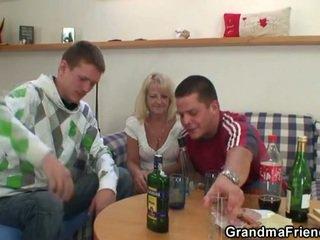 drukket, bestemor, foursome