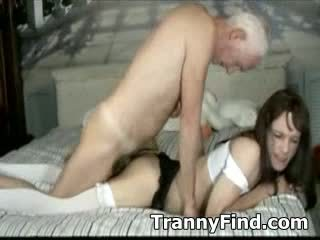 Crossdresser sex with old man