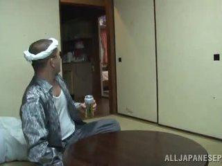 Yui tsubaki saves the diwasa boy from heart attack involving a mouthjob