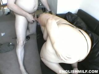Blonde UK BBW lady fucked roughly on the sofa