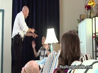 Angry cop fucks petite hottie in front of her husband