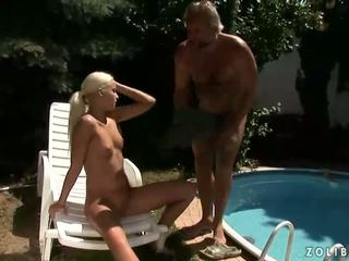 Grandpa and hot girl pissing and fucking