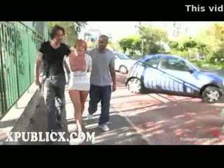 Facialized blonde valentina blue walks in public