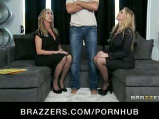 Big-tit blonde MILF sluts Julia Ann & Brandi Love in hot threesome