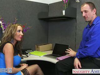 Brown haired Richelle Ryan gets facialized in the office