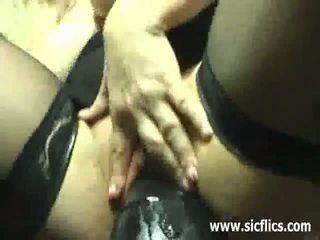 Gigantic dildo fucking amateur housewife