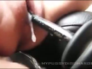 creamy masturbation pussy in Car