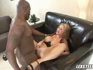 Busty pale blonde slut gets slammed by black cum shooter