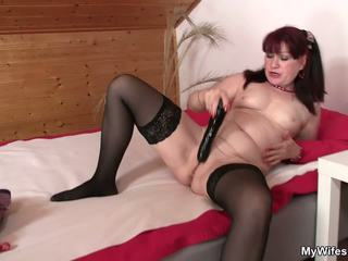 Brunette Mom-in-law in Stockings Riding after Toying.