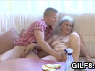 Old Cleaning Lady Gets Fucked By A Young Guy