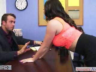 Busty brunette office babe Rachele Richey fucking