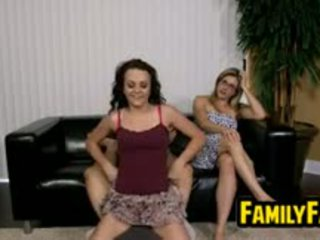 brunette, threesome, nylon