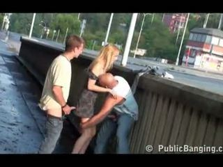 Julie Silver in public 3some in Prague