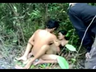 Slut Gets Fucked In The Forest By Several Men