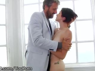 Cadey Mercury Takes Older Man's Deep Creampie