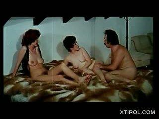 Retro German Nympho Sucks Dick In Threesome