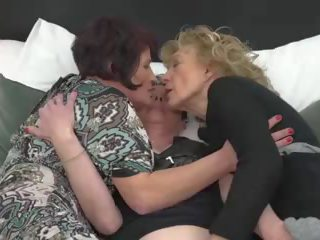 Three Grannies Lick and Fuck Each other in Lesbo...