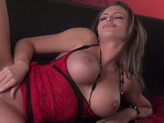 Hot bokong brunette bintang porno in red lace lingerie does striptease