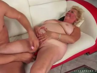 Lusty busty fat granny gets fucked on the couch