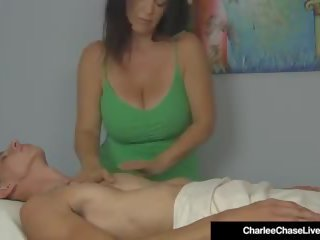 Busty MILF Charlee Chase Double Strokes a Client's Hard