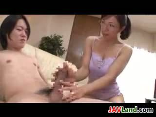 Mature Japanese Woman With Glasses Sucks Cock