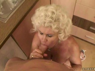 Hot granny gets her hairy pussy and ass fucked