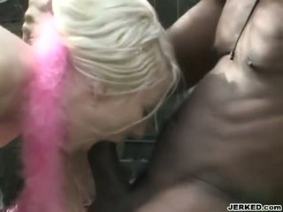 Starlet Envy sucking a meaty black cock and gets creamy warm cumshot