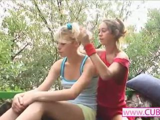 two lesbians having good time with dildo