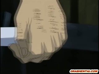 Roped hentai gets injection with an enema