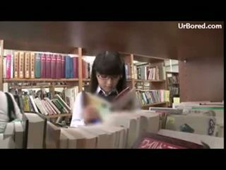 drilled, schoolgirl, geek, library