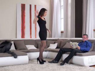 brunette video-, bril porno, lingerie klem