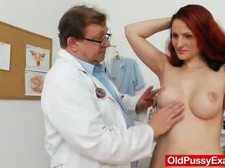 red head, fingering, busty, speculum