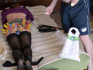 Slave Ksu bdsm session II (clamp, spank, vacuum)