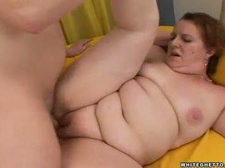 Fat redhead mom sucks and fucks her sons friend