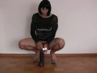 groot sex toy thumbnail, solo video-, controleren dildo klem