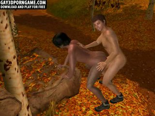 Two hot 3D hunks have anal in the woods
