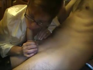 Amateur MILF sucking a young dick