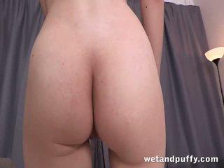 Stunning brunette lady Stefany dildoing her vagina