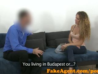 FakeAgent Slim curly haired babe sucks and fucks in casting interview