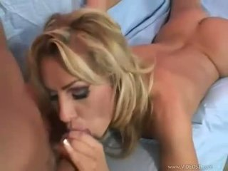 Hot blonde Bridgette Kerkove slurps a thick cock deep in her sweet mouth