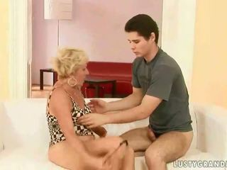 Horny boy fucking a hot granny