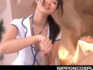 Superb jap nurse working her magic hands on a stiff