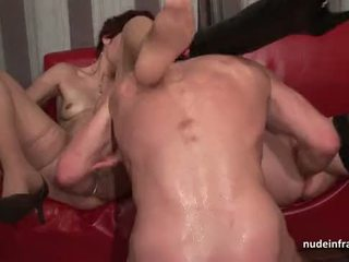 FFM Horny french milfs sodomized fisted and facialized in threesome