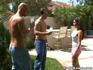 Sinfully Asian Bitch Nautica Thorn Teasing Two Dudes With Her Hot Assets In The Backyard