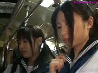 Schoolgirl Getting Her Ass Rubbed Pussy Fingered While Standing On The Bus