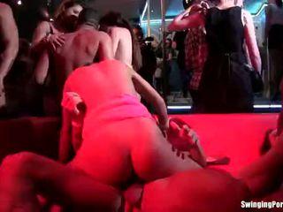 Trashy chicks gets fucked in club